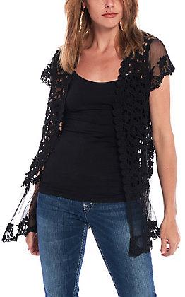 Jody Women's Black Crochet Lace Kimono
