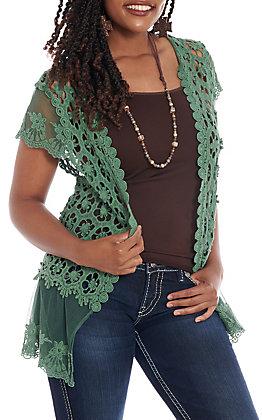 Jody Women's Green Lace Cardigan