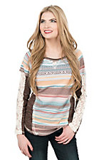 Jody Women's Multi Colored Aztec Print with Lace Long Sleeves Casual Knit Top