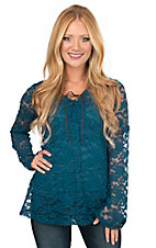 Jody Women's Teal Floral Lace Long Sleeve Fashion Top