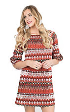 Jody Women's Red, Orange, Cream, Tan, and Black Aztec Print 3/4 Bell Sleeve Dress