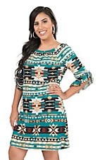 Jody Women's Teal, Cream, Tan, and Black Aztec Print 3/4 Bell Sleeve Dress