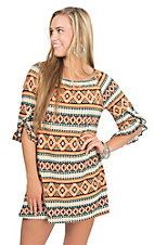Jody Women's Orange, Teal, and White Aztec Print 1/2 Sleeve Tent Dress