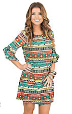 Jody Women's Orange, Aqua, Yellow, and White Aztec Print 1/2 Ruffle Sleeve Tent Dress