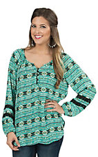 Jody Women's Jade and Black Aztec with Lace Chiffon Long Sleeve Fashion Top