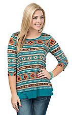 Jody Women's Teal and Rust Orange Aztec Print 3/4 Sleeve Casual Knit Top