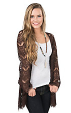 Jody Women's Brown Lace Long Sleeve Cardy