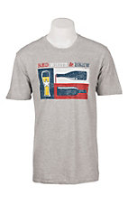 Men's Grey Red, White and Brew Texas Short Sleeve T-Shirt