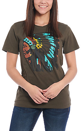 Benita Ceceille Women's Green Chief Graphic Short Sleeve T-Shirt
