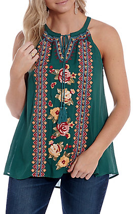 April Sky Women's Teal Green Floral Embroidered Halter Fashion Top