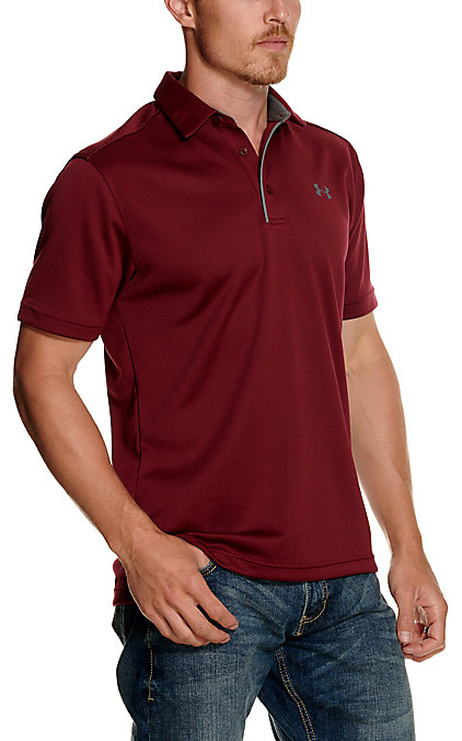 Under Armour Tech Men's Team Maroon Short Sleeve Polo Shirt by Under Armour