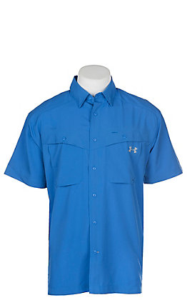 Under Armour Tide Chaser Men's Mediterranean Blue Short Sleeve Fishing Shirt