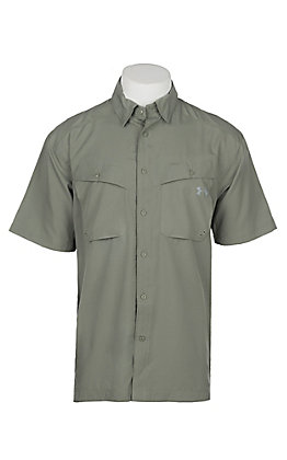 Under Armour Tide Chaser Men's Solid Moss Green Short Sleeve Fishing Shirt
