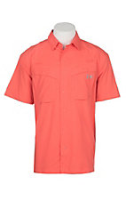 Under Armour Tide Chaser Men's Solid Vermillion Orange Short Sleeve Fishing Shirt