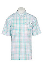 Under Armour Tide Chaser Men's White, Turquoise and Graphite Plaid Short Sleeve Fishing Shirt