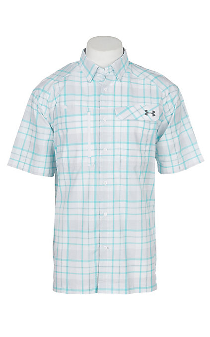 225d675239 Under Armour Tide Chaser Men's White Turquoise and Graphite Plaid Short  Sleeve Fishing Shirt