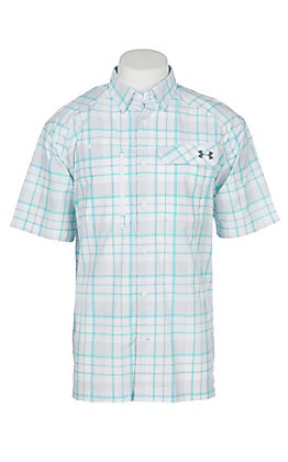 Under Armour Tide Chaser Men's White Turquoise and Graphite Plaid Short Sleeve Fishing Shirt