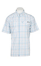 Under Armour Tide Chaser Men's White, Blue and Graphite Plaid Short Sleeve Fishing Shirt
