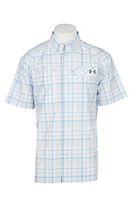 Under Armour Tide Chaser Men's White Blue and Graphite Plaid Short Sleeve Fishing Shirt