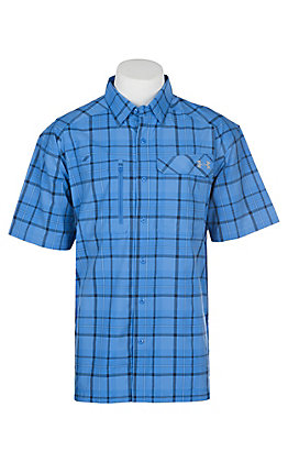 Under Armour Tide Chaser Men's Carolina Blue Plaid Short Sleeve Fishing Shirt