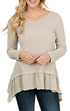 Jody Women's Oatmeal Thermal Ruffle Casual Knit Shirt
