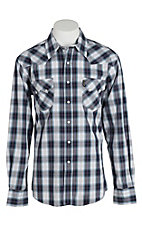 Cinch Men's Modern Fit Purple and White Plaid L/S Shirt