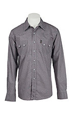 Cinch Men's Modern Fit Purple and Grey Print Long Sleeve Western Snap Shirt