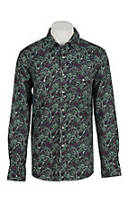 Cinch Men's Modern Fit Green with Purple Paisley Print L/S Western Shirt 1301016