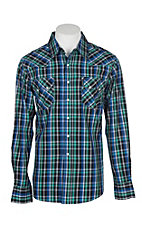 Cinch Men's Green, Blue and Black Modern Fit Plaid Long Sleeve Western Snap Shirt