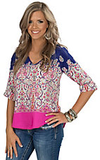 Renee C. Women's Navy & Pink Paisley Print Top