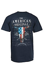Cowboy Hardware Navy with Patriotic Skull Short Sleeve Tee