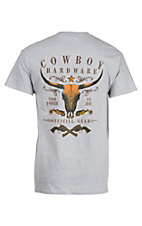 Cowboy Hardware Men's Grey with Skull Logo Screen Print Design Short Sleeve T-Shirt