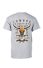 Cowboy Hardware Men's Grey Too Tough to Die Logo Short Sleeve T-Shirt