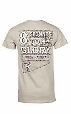 Cowboy Hardware Sand with 8 Seconds to Glory Screen Print Short Sleeve T-Shirt