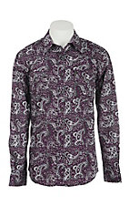 Cinch Men's Modern Fit Grey and Purple Big Paisley Print L/S Western Shirt