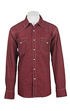 Cinch Men's Red and Black Print Long Sleeve Western Snap Shirt