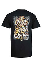 Cowboy Hardware Men's Black with Work Like a Cowboy, Play Like an outlaw Screen Print Short Sleeve T-Shirt