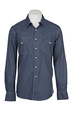 Cinch Men's Navy and White Modern Fit Dot Print L/S Western Shirt