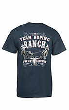 Cowboy Hardware Men's Navy with Team Roping Ranch Screen Print Short Sleeve T-Shirt
