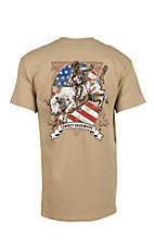 Cowboy Hardware Men's Tan with Bull Rider and Flag Short Sleeve T-Shirt