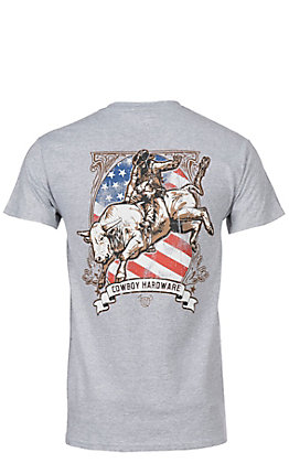 Cowboy Hardware Men's Bull Rider with a Flag T-Shirt