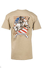 Cowboy Hardware Men's Sand with Bull Rider and American Flag Screen Print Short Sleeve T-Shirt