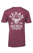 Cowboy Hardware Men's Burgundy Texan Born & Raised Short Sleeve T-Shirt