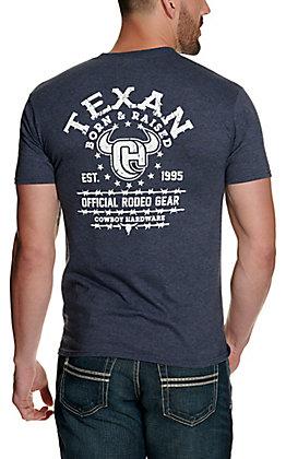 Cowboy Hardware Men's Heather Navy Texan Born & Raised Short Sleeve T-Shirt
