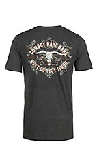 Cowboy Hardware Men's Charcoal Built Cowboy Tough Logo Short Sleeve T-Shirt