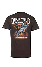 Cowboy Hardware Men's Brown Buck Wild Rodeo Short Sleeve T-Shirt