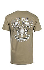 Cowboy Hardware Men's Dust with Triple Skull Ranch Screen Print S/S T-Shirt