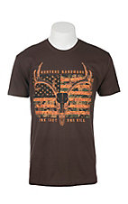 Cowboy Hardware Men's Dark Brown with Antlers Screen Print Short Sleeve T-Shirt