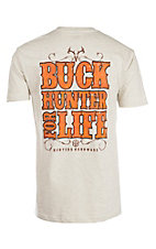 Hunters Hardware Men's Oatmeal Buck Hunter For Life S/S T-Shirt