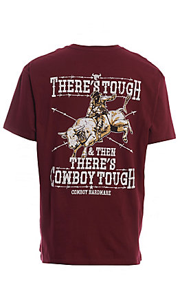 Cowboy Hardware Men's Burgundy Screen Print Short Sleeve T-Shirt